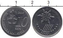 Изображение Дешевые монеты Малайзия 10 сен 2014 Медно-никель XF