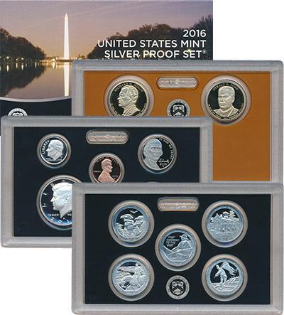 Изображение Подарочные монеты США Набор 2016 года 2016 Серебро Proof Набор состоит из тре