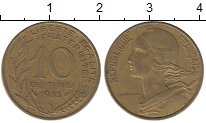 Изображение Дешевые монеты Франция 10 сентим 1985 Латунь XF-