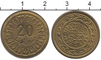Изображение Барахолка Тунис 20 миллим 1960 Латунь XF-
