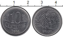Изображение Барахолка Бразилия 10 сентаво 1994 Медно-никель XF-