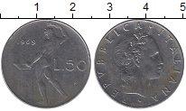 Изображение Дешевые монеты Италия 50 лир 1969 Медно-никель XF-