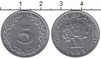 Изображение Барахолка Тунис 5 миллим 1983 Алюминий XF-