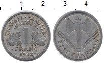 Изображение Барахолка Франция 1 франк 1942 Алюминий XF-