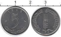 Изображение Барахолка Франция 5 сентим 1964 Медно-никель XF