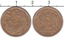 Изображение Дешевые монеты ЮАР 20 центов 1992 Бронза VF-
