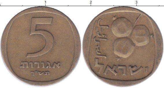 Картинка Дешевые монеты Израиль 5 агор Латунь 1973
