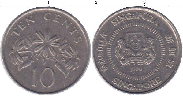 Картинка Дешевые монеты Сингапур 10 центов Медно-никель 1990