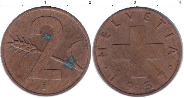 Картинка Дешевые монеты Швейцария 2 раппа Медь 1957