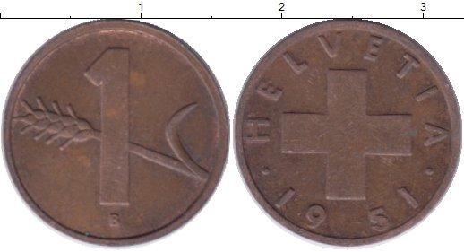 Картинка Дешевые монеты Швейцария 1 рапп Медь 1951