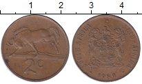Изображение Дешевые монеты ЮАР 2 цента 1989 Бронза VF-