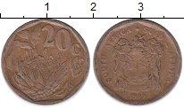Изображение Дешевые монеты ЮАР 20 центов 1995 Бронза VF-