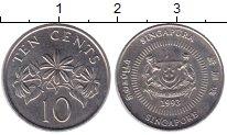 Изображение Дешевые монеты Сингапур 10 центов 1993 Медно-никель XF+