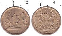 Изображение Дешевые монеты ЮАР 50 центов 1992 Латунь VF