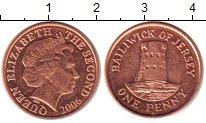 Изображение Монеты Остров Джерси 1 пенни 2006 Бронза UNC- Елизавета II.  Башня