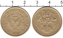 Изображение Монеты Кипр 10 центов 1985 Латунь XF