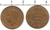 Изображение Монеты Монако 10 франков 1951 Латунь XF Ренье III - Принц  М