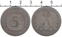Изображение Монеты ФРГ 5 марок 1991 Медно-никель XF+