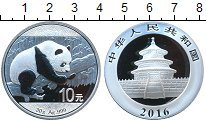 Изображение Мелочь Китай 10 юаней 2016 Серебро Proof Панда