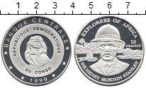 Изображение Монеты Конго 10 франков 1999 Серебро Proof- Сэр Стенли
