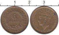 Изображение Монеты Западная Африка 6 пенсов 1942 Латунь XF
