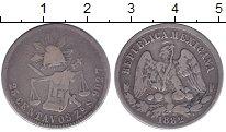 Изображение Монеты Мексика 25 сентаво 1882 Серебро VF колпак свободы с луч
