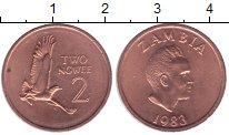 Изображение Монеты Замбия 2 нгвея 1983 Бронза UNC- птица