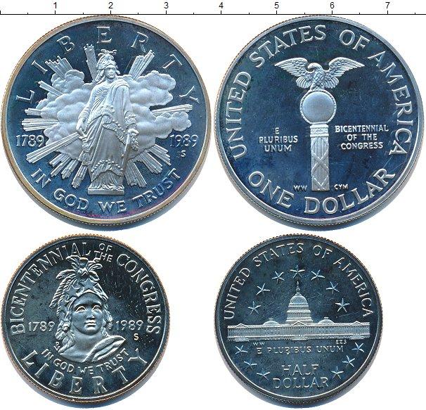 Подарочный набор монет сша 200 лет конгрессу сша - 1989 год.