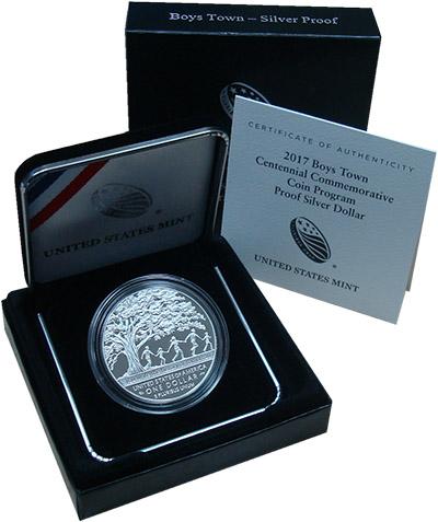 Изображение Подарочные монеты США Бойс Таун 2017 Серебро Proof `Монета номиналом 1