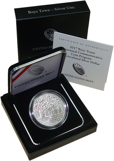 Изображение Подарочные монеты США Бойс Таун 2017 Серебро UNC `Монета номиналом 1