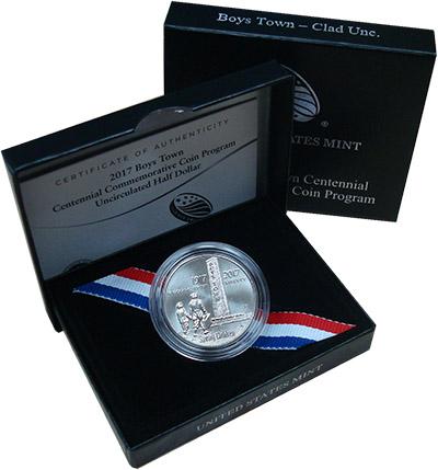 Изображение Подарочные монеты США Бойс Таун 2017 Медно-никель UNC `Монета номиналом 1/