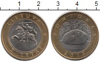 Изображение Монеты Литва 2 лит 2013 Биметалл XF Пунтукас