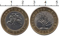 Изображение Монеты Литва 2 лит 2013 Биметалл XF