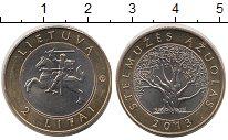 Изображение Монеты Литва 2 лит 2013 Биметалл XF Рыцарь