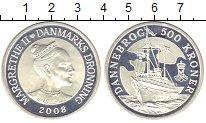 Изображение Монеты Дания 500 крон 2008 Серебро Proof `Яхта ``Даннеборг```