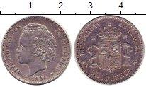 Монета Испания 1 песета Серебро 1894 XF фото