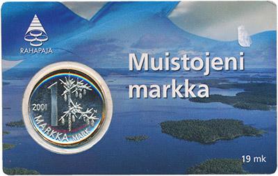 Изображение Подарочные монеты Финляндия Прощание с Маркой 2001 Медно-никель UNC Монета номиналом 1 м