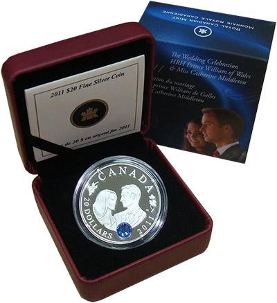 Изображение Подарочные наборы Канада Свадьба принца Вильяма 2011 Серебро Proof Монета номиналом 20