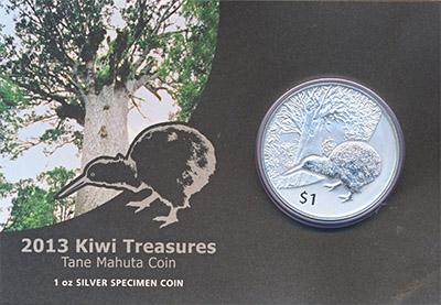 Изображение Подарочные монеты Новая Зеландия Киви 2013 Серебро Prooflike 1 доллар (серебро 99
