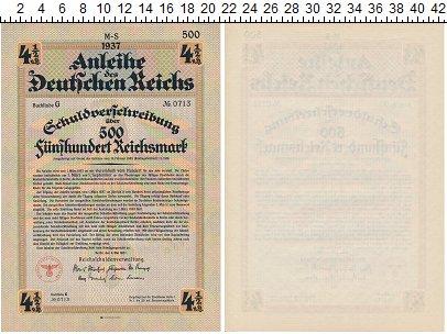 Изображение Банкноты Германия Третий Рейх 500 марок 1937  XF