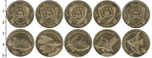 """Изображение Наборы монет Индонезия Малуку 2016 Латунь UNC- Набор Малуку """"Рыбы"""""""
