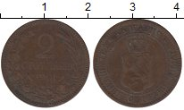 Изображение Монеты Болгария 2 стотинки 1901 Бронза XF-