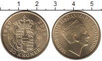 Изображение Монеты Дания 20 крон 2010 Латунь UNC 70 - летие  Королевы