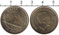 Изображение Монеты Дания 20 крон 2010 Латунь UNC Маргрете II.  Каяк