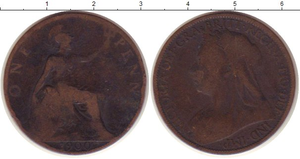 Картинка Монеты Великобритания 1 пенни Медь 1900