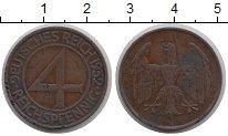 Изображение Монеты Веймарская республика 4 пфеннига 1932 Бронза XF-