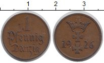 Изображение Монеты Данциг 1 пфенниг 1926 Бронза XF Герб