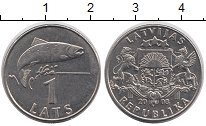 Изображение Монеты Латвия 1 лат 2008 Медно-никель XF