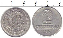 Изображение Монеты Бразилия 2 крузейро 1961 Алюминий XF