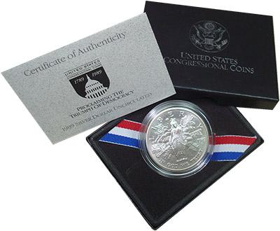 Изображение Подарочные монеты США 200-летие Конгресса 1989  UNC Набор посвящен Конгр